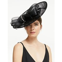 John Lewis and Partners Darcy Crystal Loop Wide Disc Occasion Hat, Black
