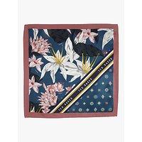 Ted Baker Afton Floral Geo Print Silk Pocket Square, Blue