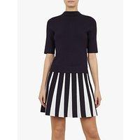 Ted Baker Hethia Pleat Skirt Knitted Flippy Dress, Navy/White