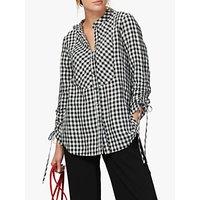 Brora Gingham Linen Tunic Top, Monochrome