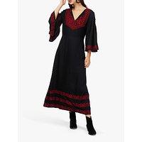 Brora Embroidered Kaftan Maxi Dress, Black/Red
