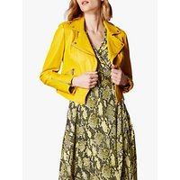 Karen Millen Leather Biker Jacket, Yellow