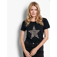 hush Leopard Star Short Sleeve Cotton T-Shirt, Black