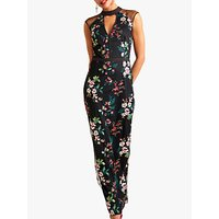 shop for Yumi Embroidered Floral Maxi Dress, Black at Shopo
