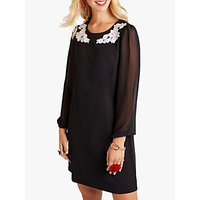 shop for Yumi Floral Sheer Flute Sleeve Dress, Black at Shopo