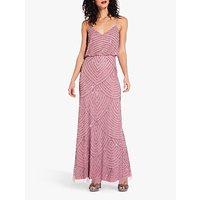 Image of Adrianna Papell Beaded Pattern Maxi Dress, Rose/Mercury