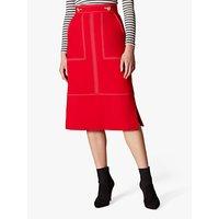 Karen Millen Contrast Stitch Detail Pencil Skirt, Red