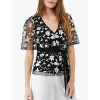 Monsoon Victoria Embroidered Tie Blouse, Black