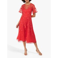 Monsoon Racquelle Mesh Dress, Red