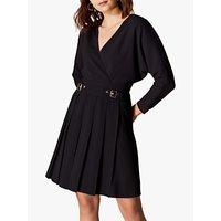 Karen Millen Pleated Skirt Wrap Dress, Black