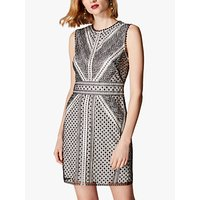 Karen Millen Embroidered Lace Dress, Black/White