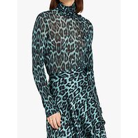 Ghost Marni Funnel Neck Top, Blue Leopard