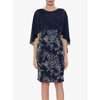shop for Gina Bacconi Effie Overcape Floral Dress, Spring Navy at Shopo