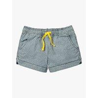 Mini Boden Girls' Heart Pocket Shorts, College Blue Stripe