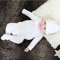 Emile et Rose Robyn Sleepsuit, Hat and Teddy Bear Set, White