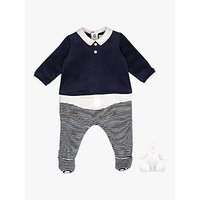 Emile et Rose Ritchie Velour Stripe Sleepsuit and Teddy Bear Set, Navy/White