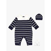 Emile et Rose Reuban Sleepsuit, Hat and Teddy Bear Set, Navy/White