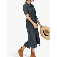 Brora Cross Weave Linen Shirt Dress, Indigo