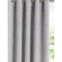 John Lewis and Partners Metallic Weave Pair Lined Eyelet Curtains, Grey