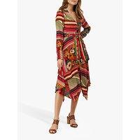 Monsoon Zeeba Scarf Print Cotton Midi Dress, Neutral