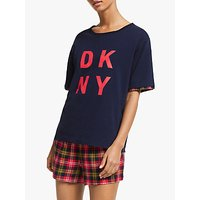 Dkny Check Boxer Shorts Pyjama Set With Eyemask, Navy/red