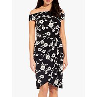 Image of Adrianna Papell Living Blooms Off Shoulder Dress, Black/Ivory