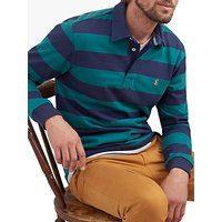 Joules Onside Long Sleeve Striped Polo Shirt, Teal Navy Stripe