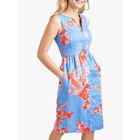 Joules Lisia Linen Floral Dress, Blue