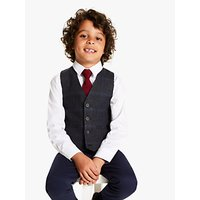 John Lewis and Partners Heirloom Collection Boys Tweed Check Waistcoat, Navy