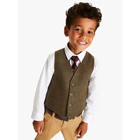 John Lewis and Partners Heirloom Collection Boys Tweed Check Waistcoat, Green