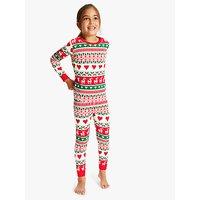Hatley Girls' Deer Fair Isle Print Pyjamas, Red