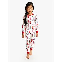 Hatley Girls Holiday Stockings Print Pyjamas, White/Multi