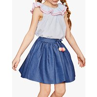 Outside the Lines Girls Denim Pom Pom Skirt, Blue
