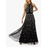 Monsoon Annie Embroidered Floral Maxi Dress, Black