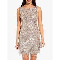 Adrianna Papell Beaded Short Dress, Silver