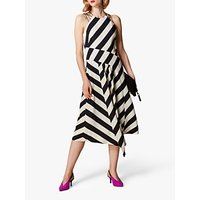 Karen Millen Striped Halter Neck Dress, Black/White