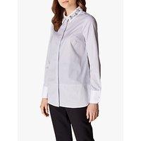 Karen Millen Embellished Pinstripe Cotton Shirt, Blue/Multi