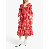 And/or La Galeria Elefante Mexicana Fern Print Tiered Maxi Dress, Red/ivory