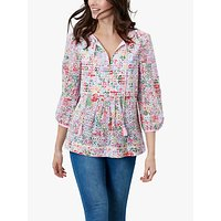 Joules Daria Floral Print Broderie Anglaise Cotton Blouse, Multi