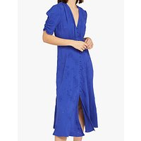 Ghost Flo Embroidered Crepe Dress, Cobalt Blue