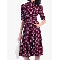 shop for Jolie Moi Geometric Turtle Neck Flared Dress, Pink Pattern at Shopo
