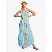 hush Selene Embroidered Maxi Dress, Pale Blue/Marigold