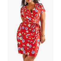 Yumi Curves Pansy Wrap Dress, Red