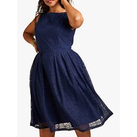 shop for Yumi Curves Lace Pleated Dress, Navy at Shopo