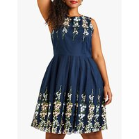 shop for Yumi Curves Embroidered Floral Dress, Navy at Shopo