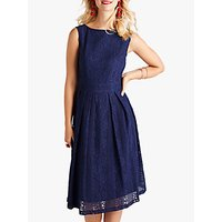shop for Yumi Lace Pleated Dress, Navy at Shopo
