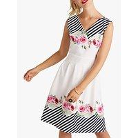 shop for Yumi Mirror Floral Stripe Skater Dress, Ivory at Shopo