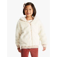 John Lewis and Partners Girls Faux Fur Bomber Jacket, Cream