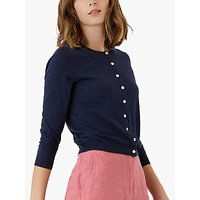 Brora Cotton Knit Cardigan, Navy