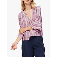 Brora Stripe Linen Blouse, Raspberry